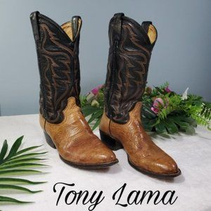 Tony Lama Western Boots men's size 8 brown and tan